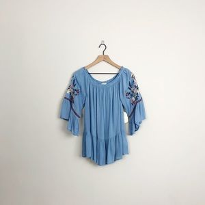 Altar'd State | blue embroidered bell sleeve top